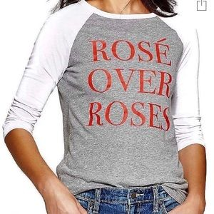 Modern Lux Gray Red Rosé over Roses Baseball Tee